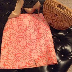 J.Crew tropical print faux wrap skirt